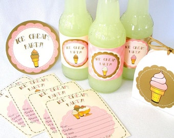 Ice Cream Social Printable Party Pack Kit Instant Download