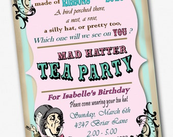 Mad Hatter Invitation Birthday Tea Party Custom 5 x 7 Printable File