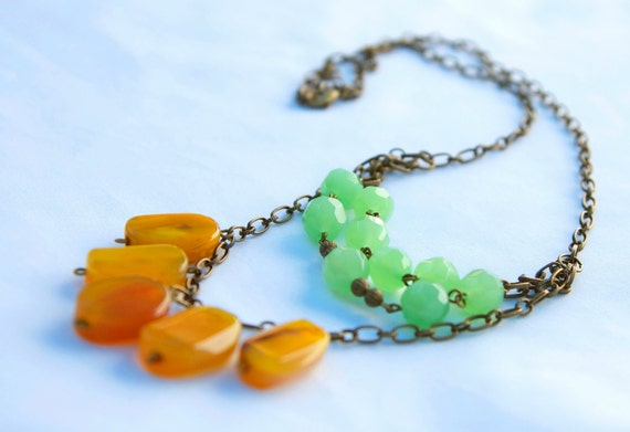 Jade and Mustard Necklace on Antique Gold Chain