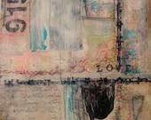 Original Painting Abstract Mixed Media Love Pink, Aqua, Black, Cream