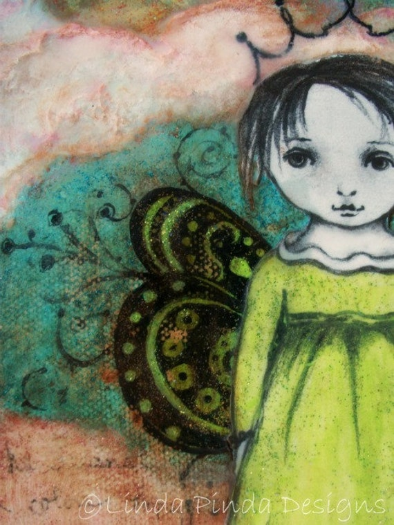Mixed Media Painting 5x7 Original Butterfly Princess As seen in Somerset Studio Magazine