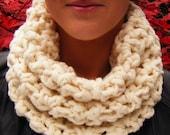 Winter White Cowl Super Chunky Crochet Neckwarmer Scarf
