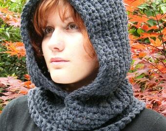 Crochet Hood Scarf in Chunky Dark Grey