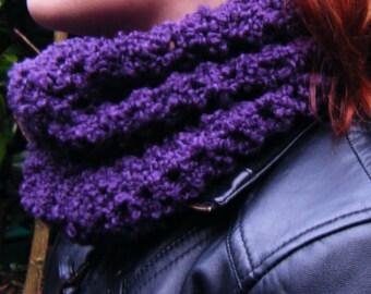Crochet Cowl Purple Neckwarmer Scarf Made in Ireland