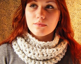 Handmade Chunky Crochet Cowl in Soft Pale Grey