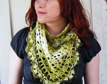 Half Price Triangle Summer Shawl, Green Lace Crochet
