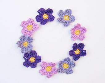 Tiny Crochet Applique Flowers - 9 Purple Mix