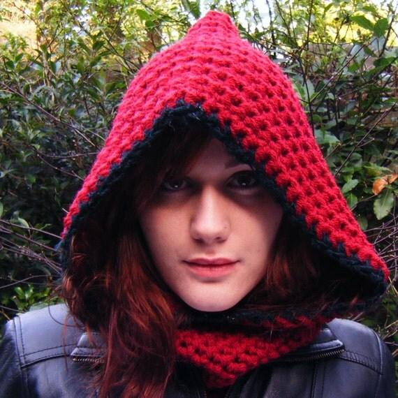 Red Crochet Hooded Cowl Scarf Dark Blue Edging Trim
