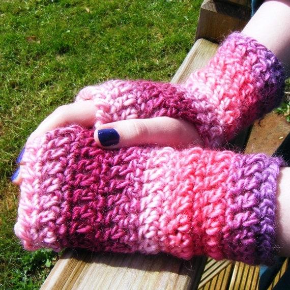 Pink Stripy Women Accessories Fingerless Gloves