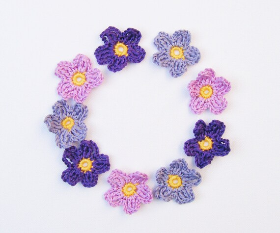 Tiny Crochet Flowers - 9 Small Applique Purple Mix