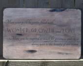 Gentle Journey- wooden sign vintage inspired typography wall art