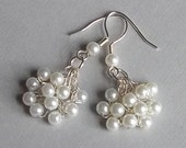 White Pearl Wedding Earrings, Pearl Jewelry, Cluster Style, Wire Crochet, Retro, Hollywood, Silver Plated, Bridal Earrings