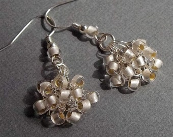 Wedding Frosted Crystal Earrings, Designer, Jewelry, Bridal, Bridesmaids, Seed Bead, Retro, Crochet, Wire, Sterling Silver Plate