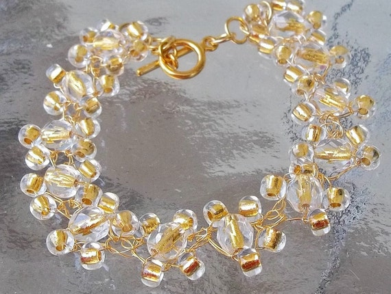 Wedding Bracelet, Crystal, Gold, Jewelry, Designer, Bridal, 24K Gold Wire, Crochet, Hollywood Regency, Retro, Bridesmaids