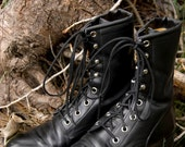 SALE Like New Vintage Black Roy Cooper Lacers/Ropers/Granny/Combat/Grunge Boots Size 6.5 Women's Boots