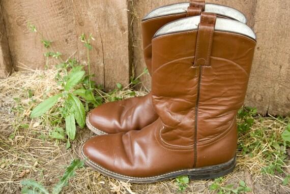 Vintage Rich Brown Leather Cowtown Riding Boots Size 9 women's, 7.5 men's