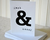 Pack of 10 Personalized Ampersand Thank You or Greeting Card