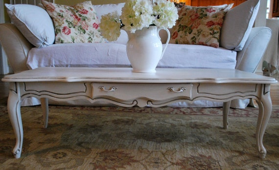 French Provincial Antique White Coffee Table