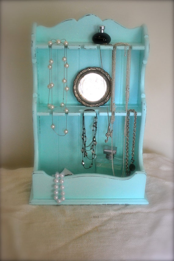 RESERVED for Kendra - Vintage Aqua Spoon Display or Jewelry Organizer