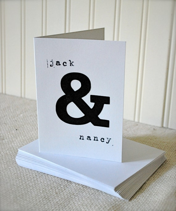 Pack of 20 Personalized Ampersand Thank You or Greeting Card