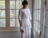 White Lace Skirt And Blouse. Antique Embroidered Netting and Ruffles. Antique Edwardian Whites. Size Extra Small FREE SHIPPING