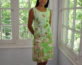 Miami Beach Sun Dress. Vintage 1960s. Tropical Print Resort Wear. Lee Stevens. Pistachio Green And Pink. Size Small. FREE SHIPPING