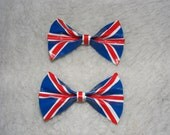 New UK Flag England Brittish Duct Duck Tape Hair Bows with alligator clip lot of 2 Girls Woman