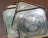 Bird Serving Plates/ Trays - Vintage Gold - Tin - Perfect For The Holidays - Black - Gold - Set Of Five