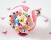 Kawaii Ring - Yummy Pink Doughnut Sprinkle Adjustable Ring With Gemstones and Whip Cream