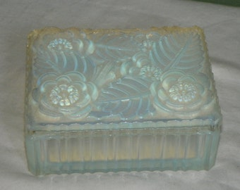 Antique Sabino DRESSER BOX Signed FranceFlowers Floral opalescent glass opal Paris Jewelry