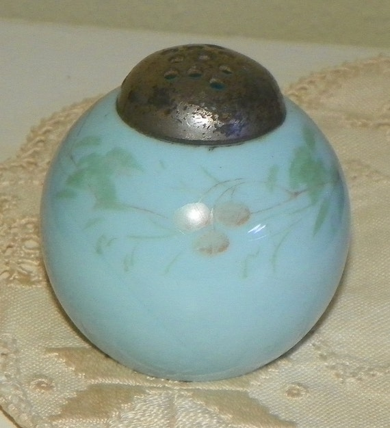Antique Mt Washington Shaker Egg flat Round Flower Opalware Hand Painted Opal Blue Glass opaline