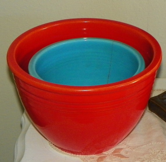 Vintage Fiesta Ware Mixing Bowls Red 4 Turqouise 2 Homer