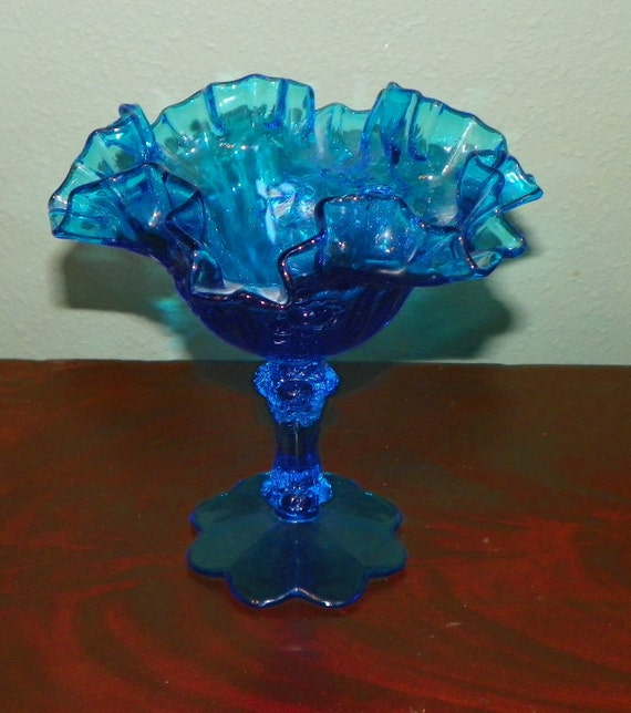 Vintage Fenton Compote Blue Glass Roses Pedestal Candy Dish