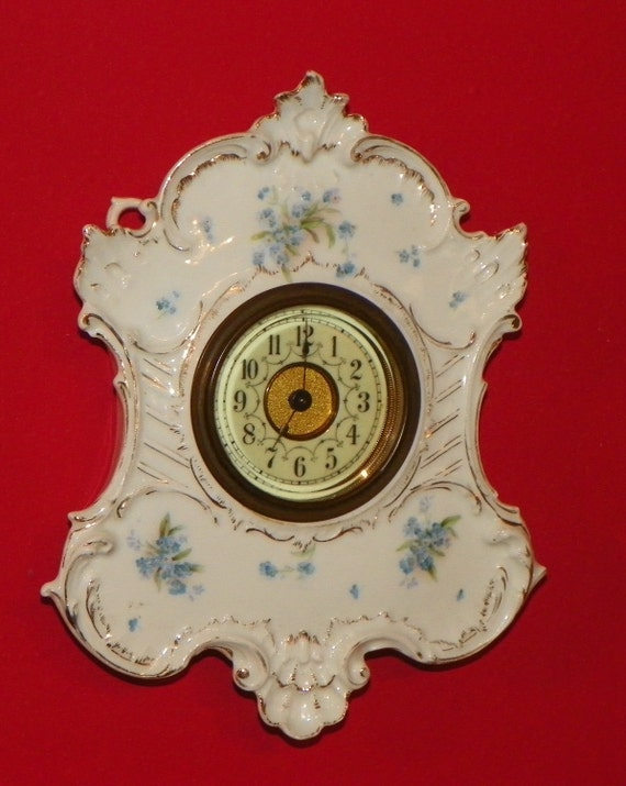 Antique Fancy Wall CLOCK porcelain Shell and Cartouche Design Forget Me Not Flowers Blue Beveled Glass