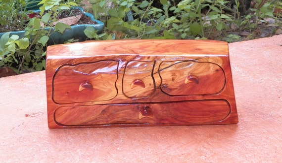 Hand Carved Unique Cedar Wood BOX Keepsake Jewelry Chest secret compartment OOAK Drawers
