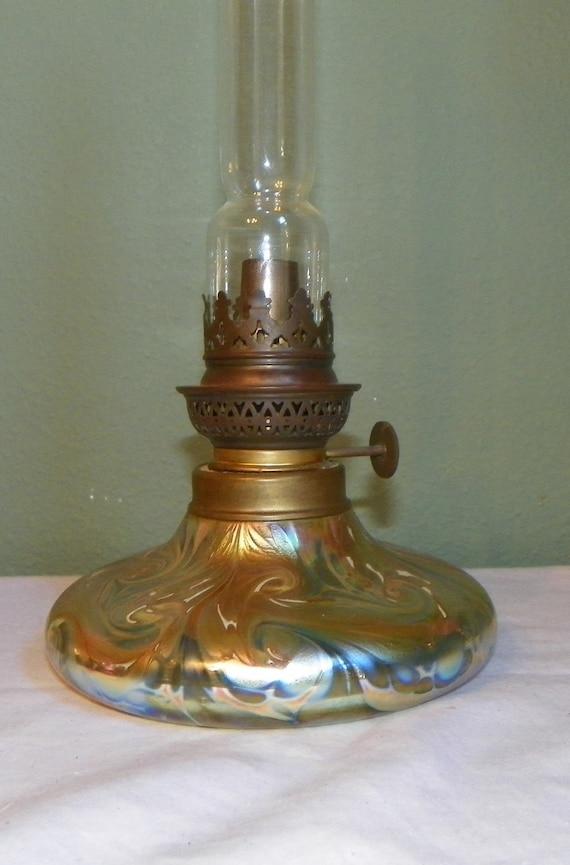 Victorian Loetz Style Oil Lamp Lantern By Kent By Favrilefinds