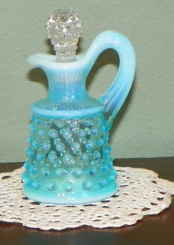 Vintage Fenton Cruet Aqua Blue Opalescent Hobnail Moonstone
