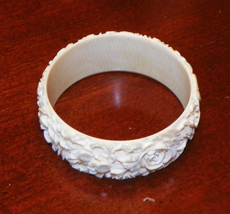 Antique Carved Ivory Bracelet Bangle Jewelry Vintage Carving