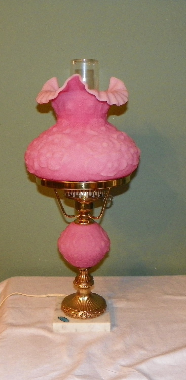 Vintage Fenton Student Lamp Poppy Pink Satin Glass Desk Table
