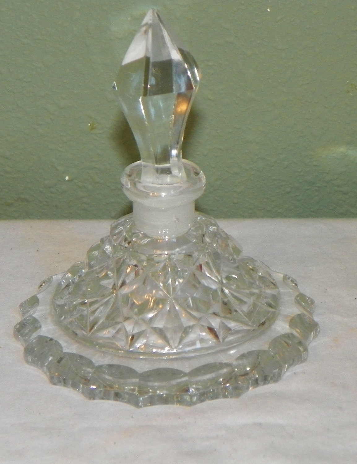 Antique perfume scent bottle morlee cut glass crystal clear for How do i cut glass bottles