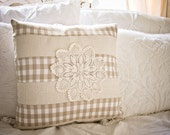 18x18in neutral plaid vintage inspired throw pillow