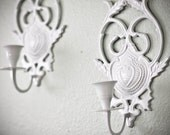 Set of TWO vintage refinished white ornate candle sconces