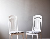 Set of TWO refinished chevron patterned chairs
