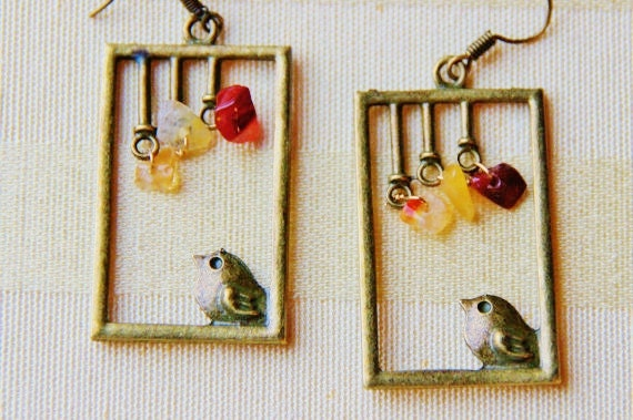 Love Bird Earrings - Birdcage Jewelry Earring - Rectangle Song Birds - Brass Pebble Ear Ring - CHRISTMAS Gift for Women - Holiday Presents