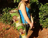Handmade Floral Green, Yellow, and Tan African Print Yoga Bag. Made by Women of Uganda. DONATION