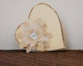 NEW - Heart Gift Box - Wedding Favors - Lovely Little Paper Mache Box with Handmade Layered Flower