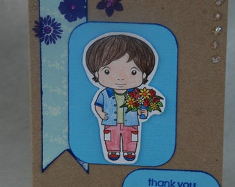 Luka with Flowers Thank You Card