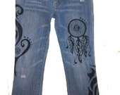 Denim Tattoo Hand Painted Jeans Southwest Size 28