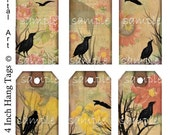 Instant Download - Crows No. 1- Set of 6 Hang Tags -  Digital Printable Collage Sheet - Gift Tag - and More