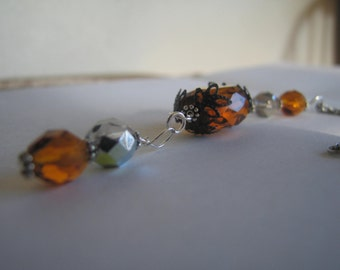 Beautiful Silver Tone with Amber Necklace - Jewelry - Handmade -